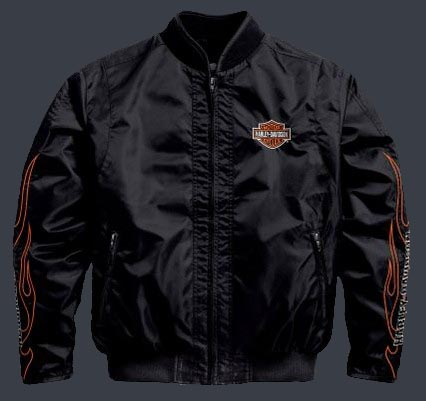 Harley Davidson Men S Flames Nylon Bomber Jacket Limited